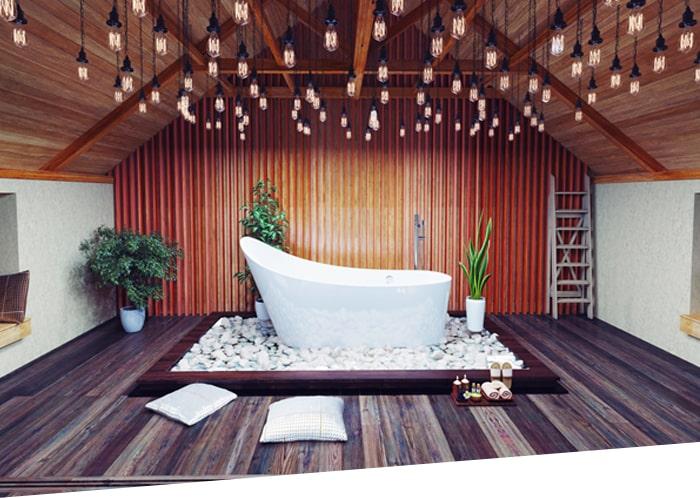 Plancher en bois naturel dans la salle de bain | APF Menuiserie SA