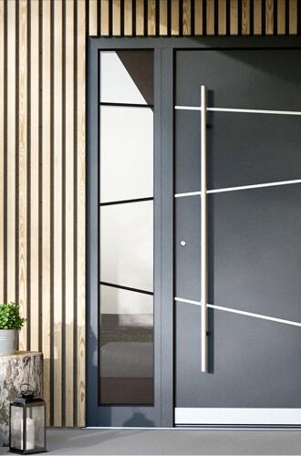 Porte de maison noire avec vitre